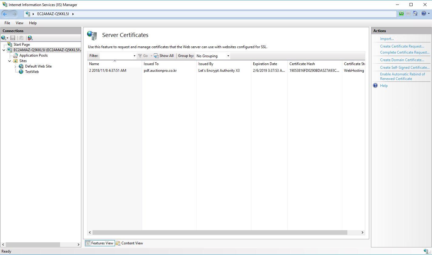 Let's Encrypt Windows (win7, win2012) SSL 설치 – AuctionPro